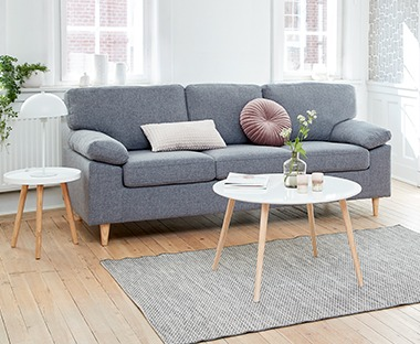 3-seters sofa i lysegrå
