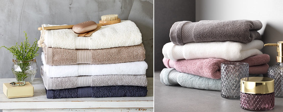 bathroom towels in different colours