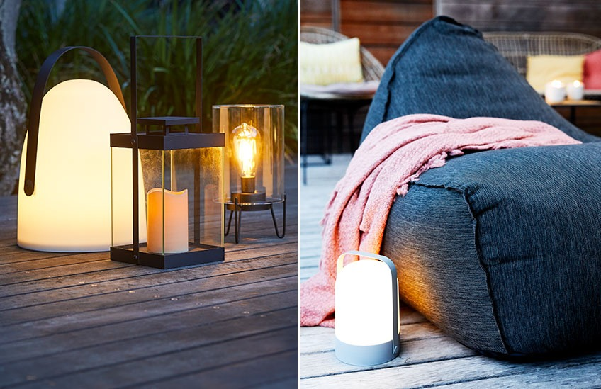 Battery lamps on a patio and beide a lounge chair