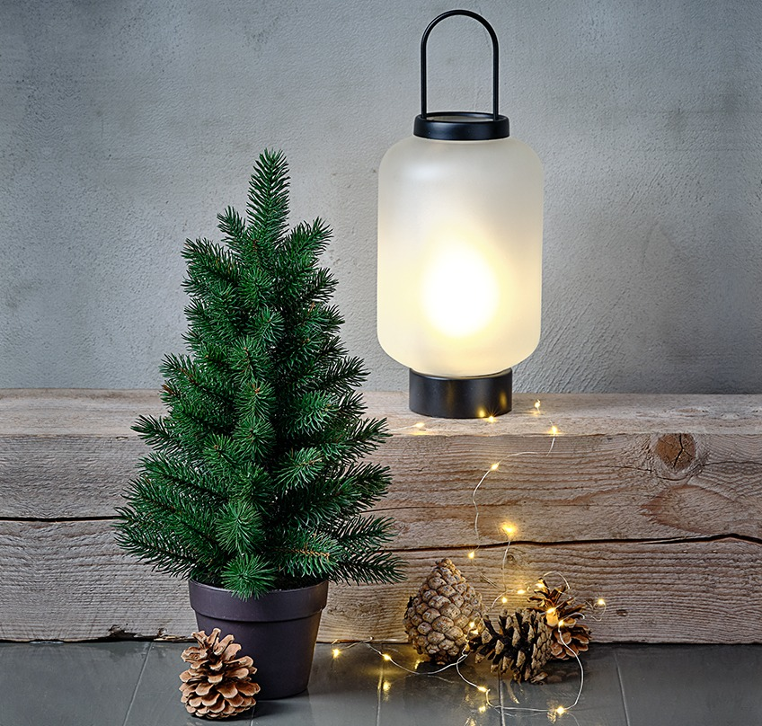 Artificial Christmas tree, glass lantern with frosted look and a light string wrapped over a log