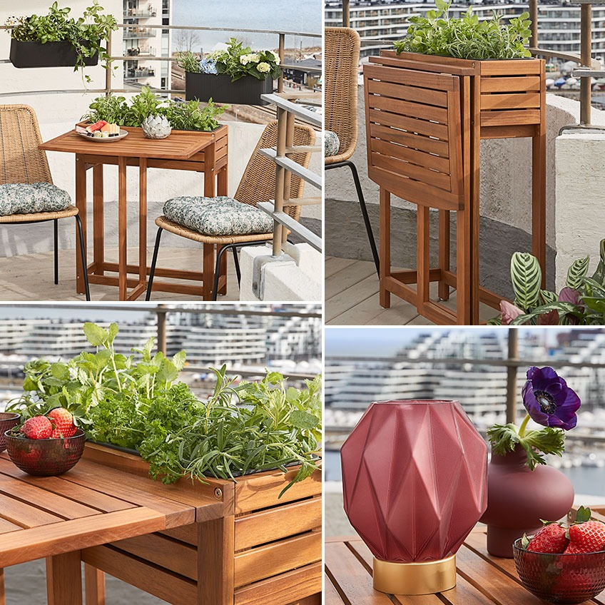 Garden folding table and planter in one with garden chairs, battery lamp and other garden décor